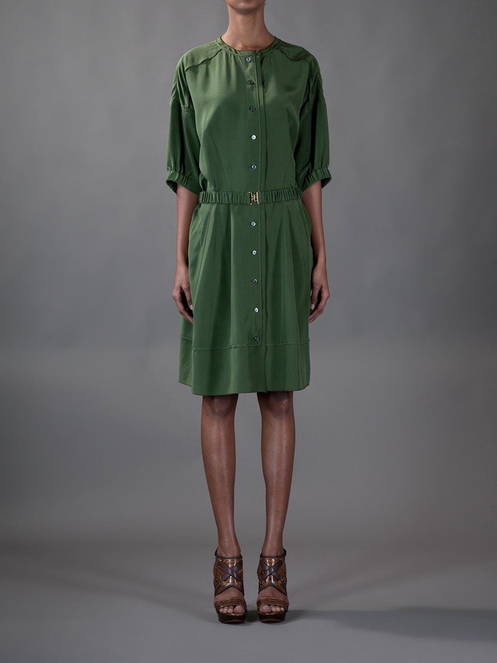 Lyst Derek Lam Silk Shirt Dress In Green
