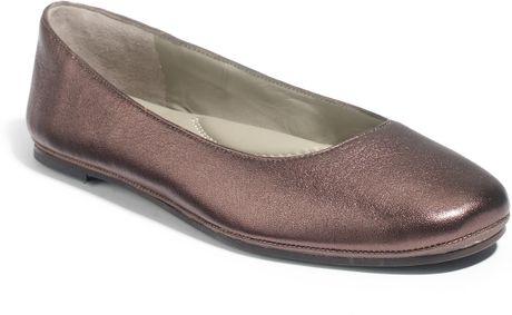 Eileen Fisher Metallic Leather Ballet Flats in Brown (bronze)