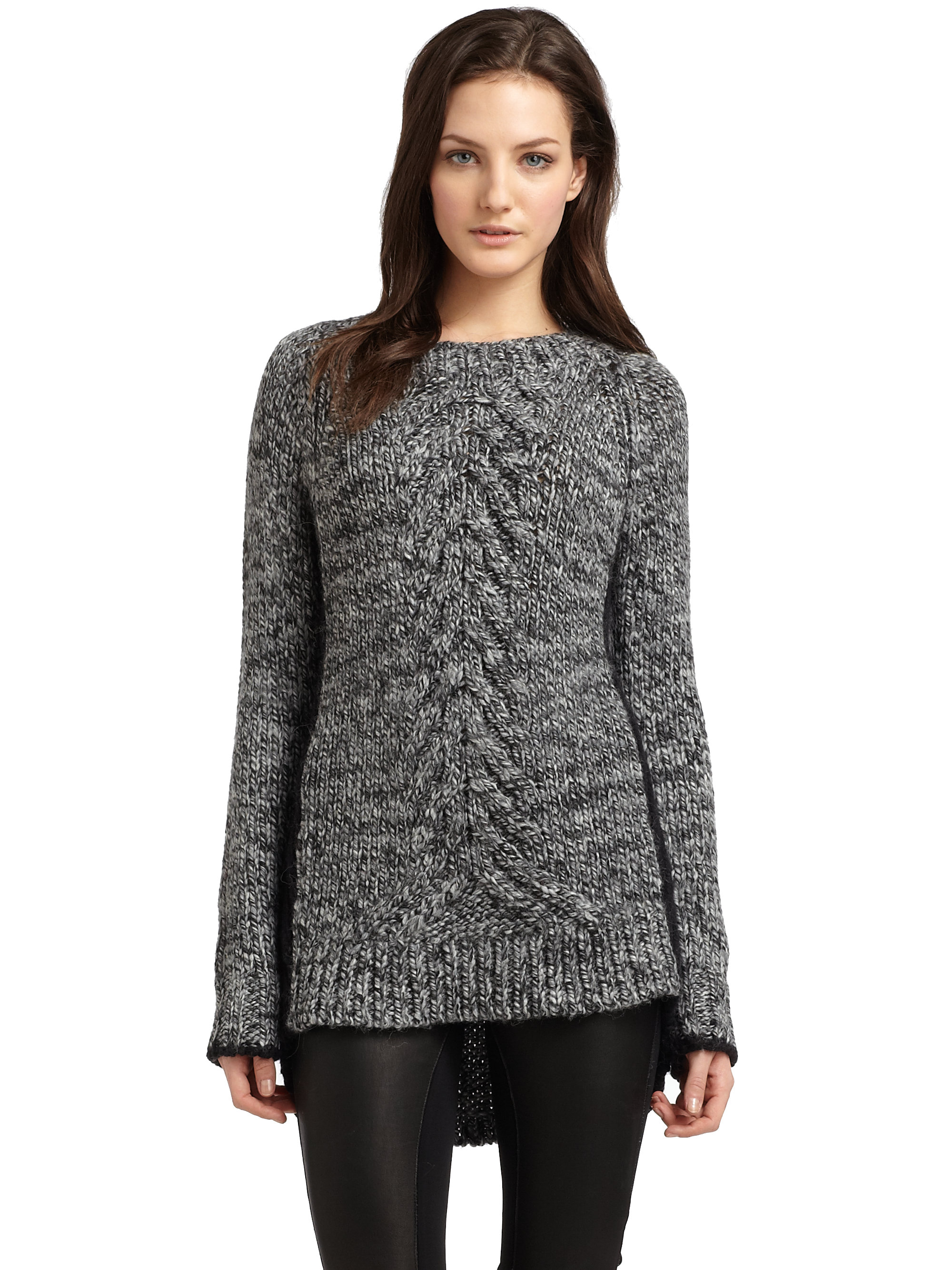 Elizabeth and james Marled Tunic Sweater in Gray | Lyst