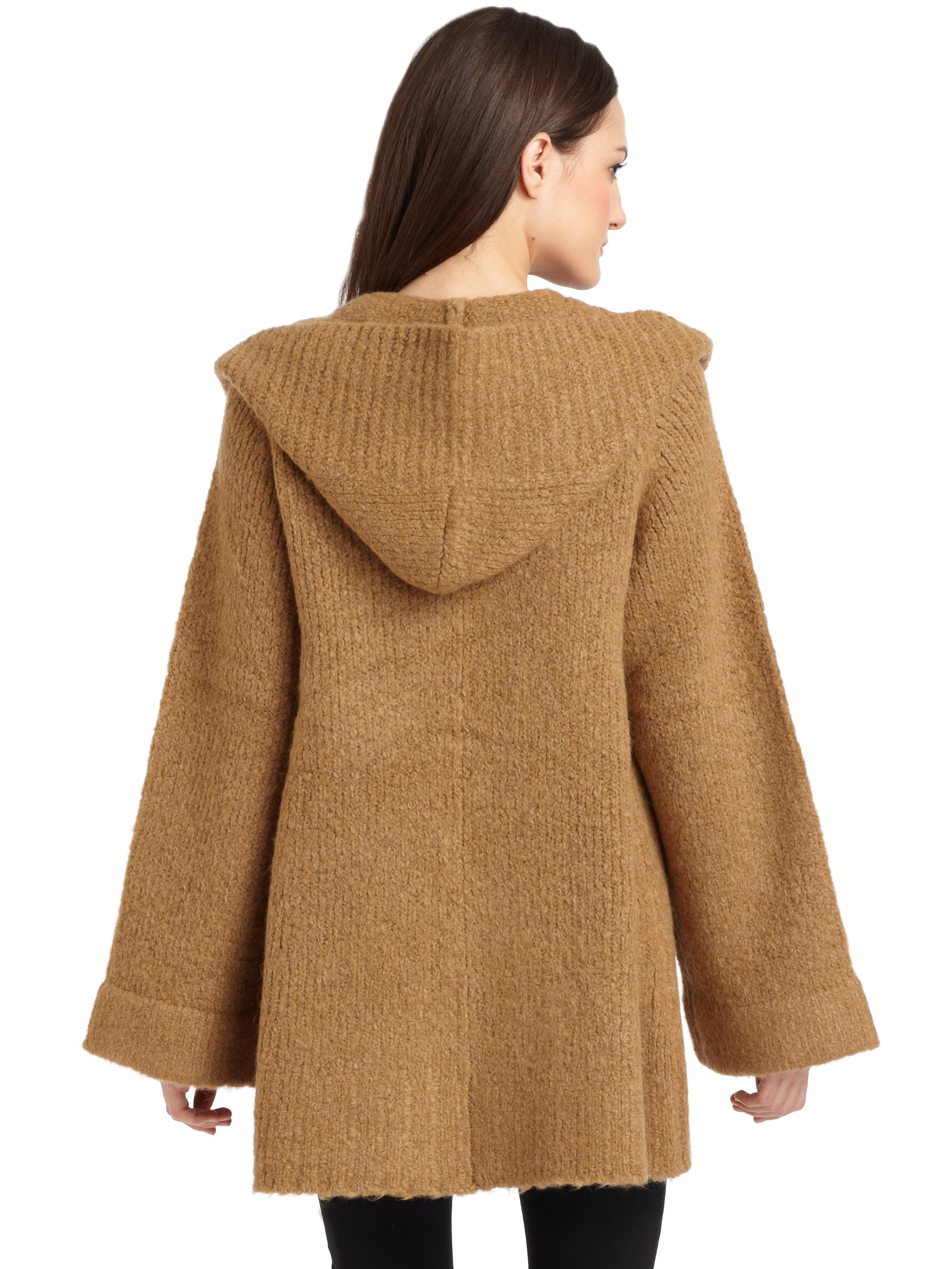 Elizabeth and james Hooded Wrap Cardigan Sweater in Brown | Lyst