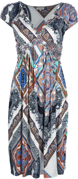 Etro Paisley Print Ruffle Dress in Multicolor (multi)