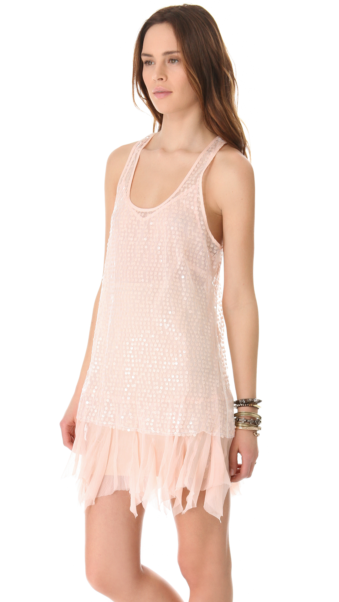 Free People Sequin Slip Dress in Pink - Lyst