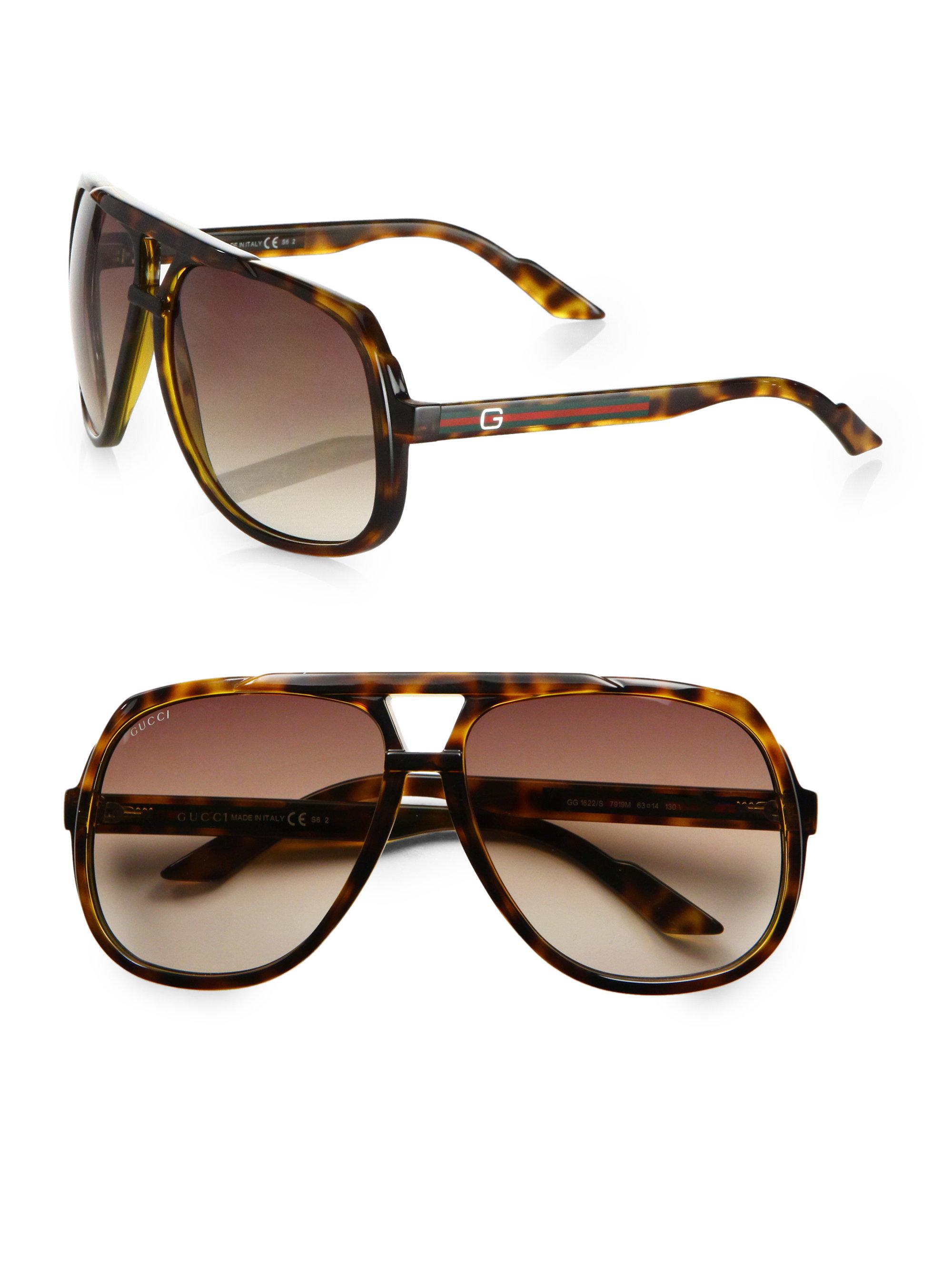 09c49c855fdf Gucci Plastic Aviator Sunglasses in Brown for Men - Lyst