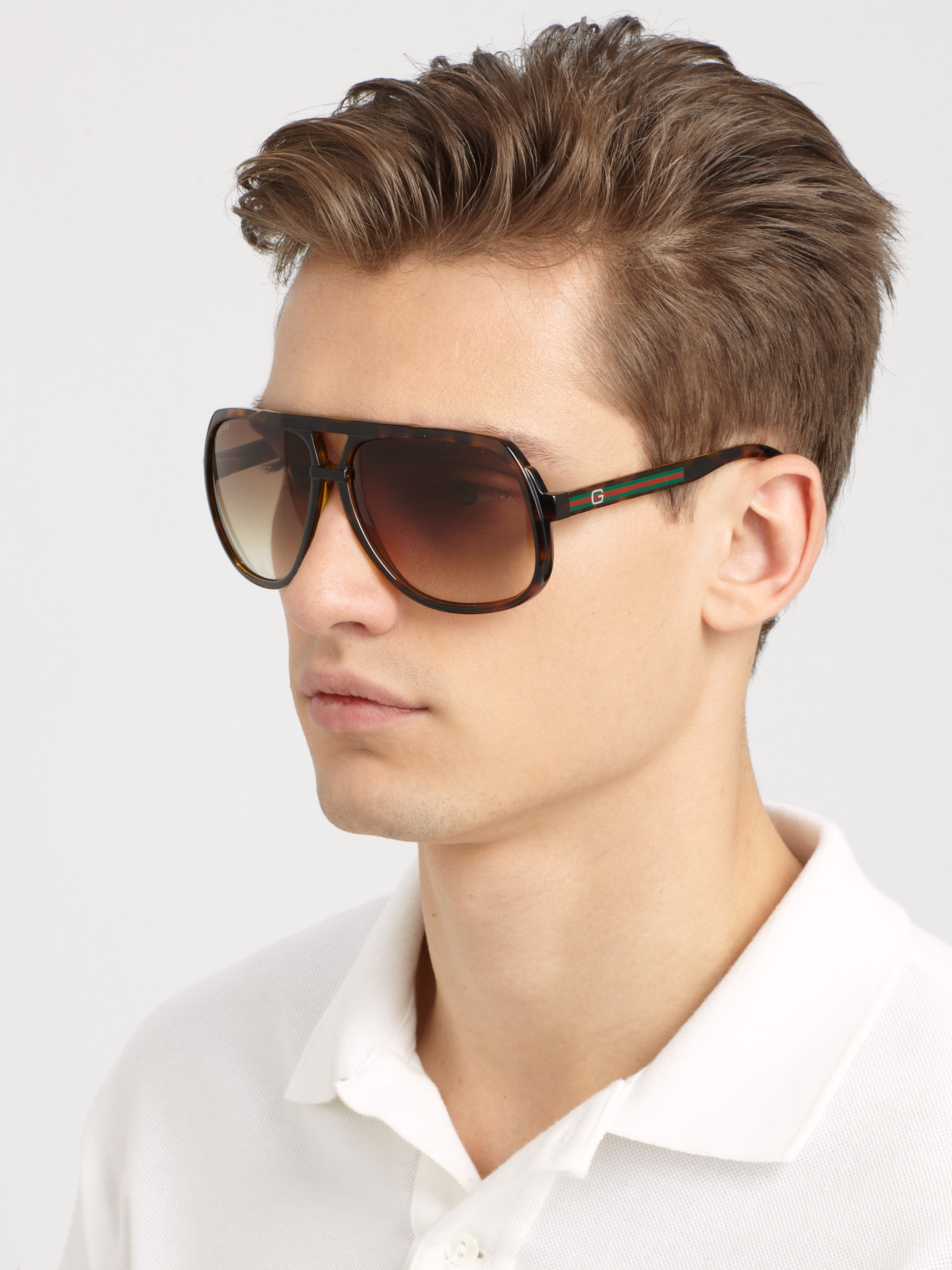 Gucci Plastic Aviator Sunglasses In Brown For Men Lyst