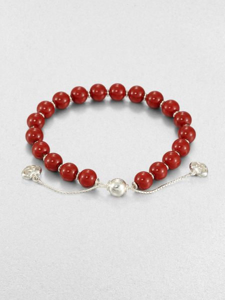Gucci Wood Sterling Silver Beaded Bracelet in Red