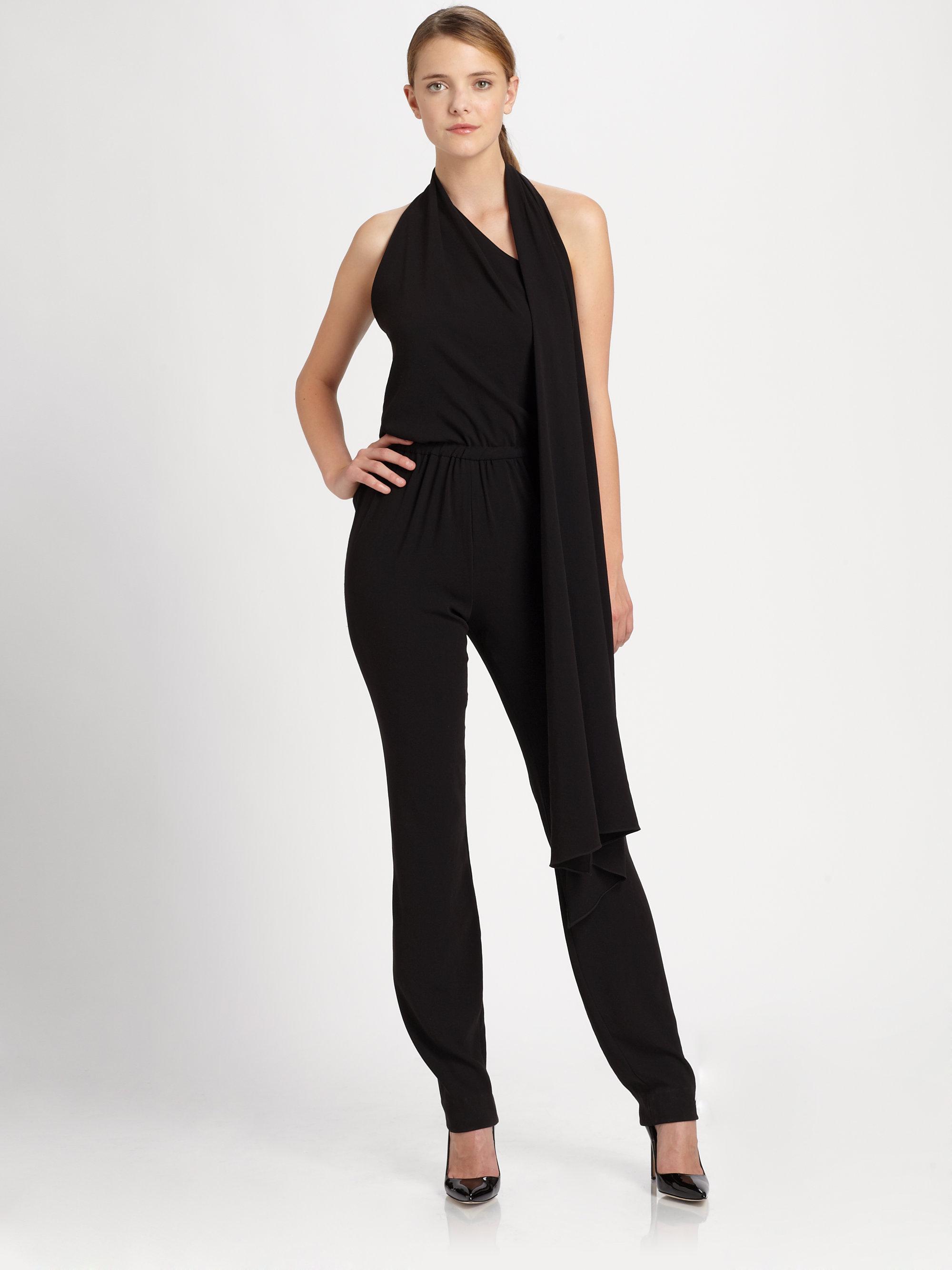Halston Jersey Jumpsuit in Black | Lyst