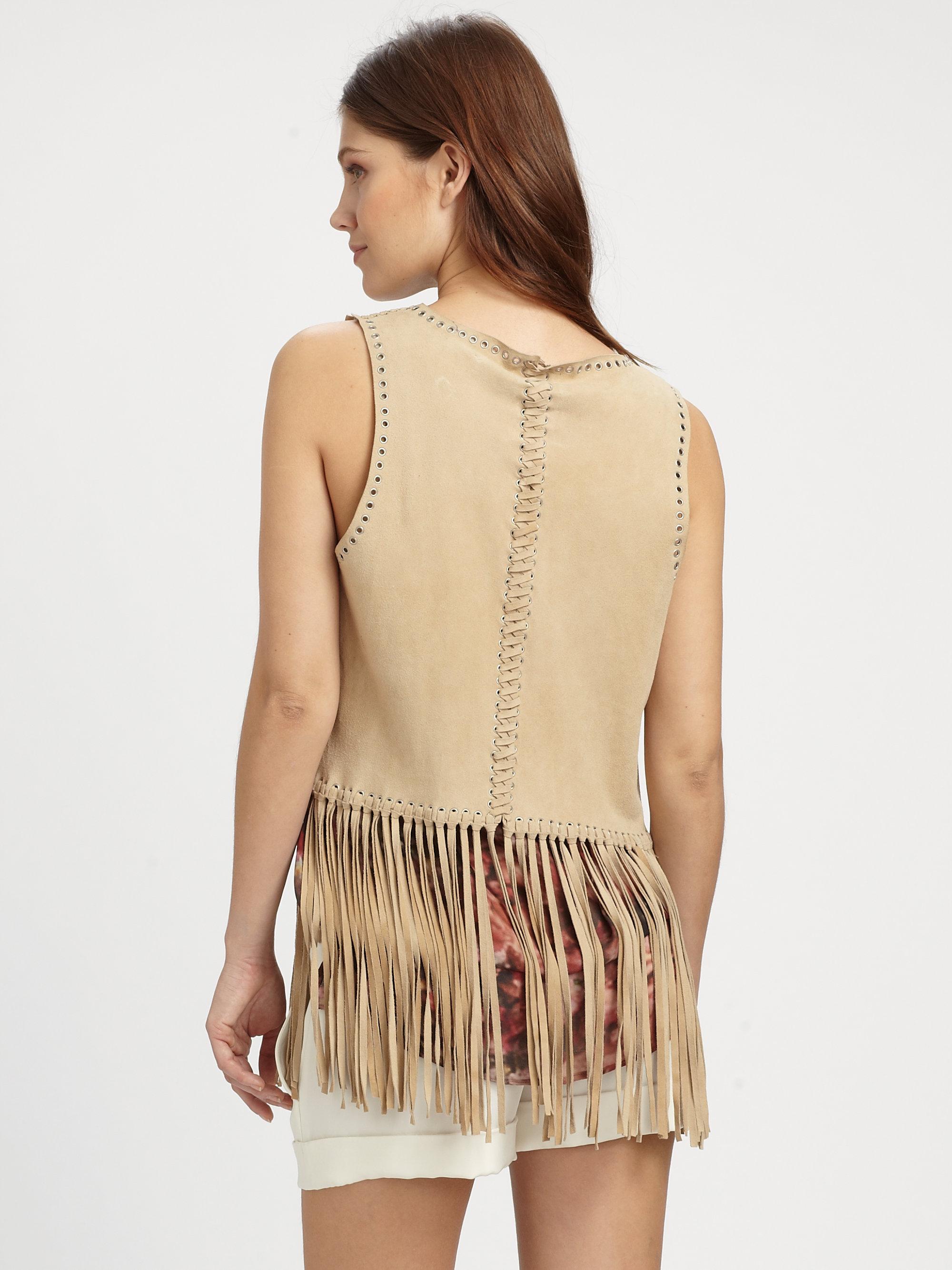 Haute Hippie Suede Fringe Vest In Nude Brown - Lyst-2117