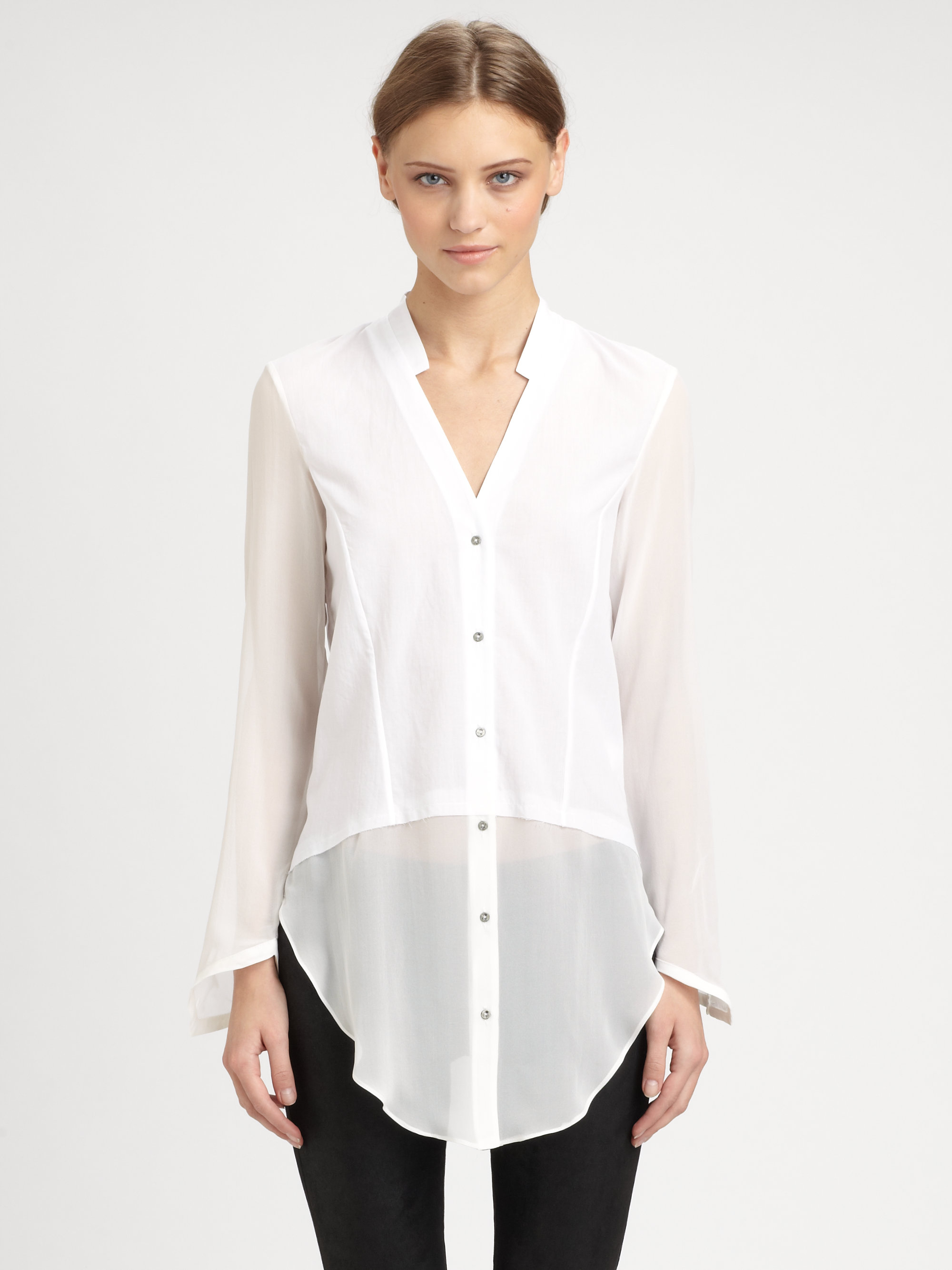 Lyst - Helmut lang Element Sheer Hem Shirt in White