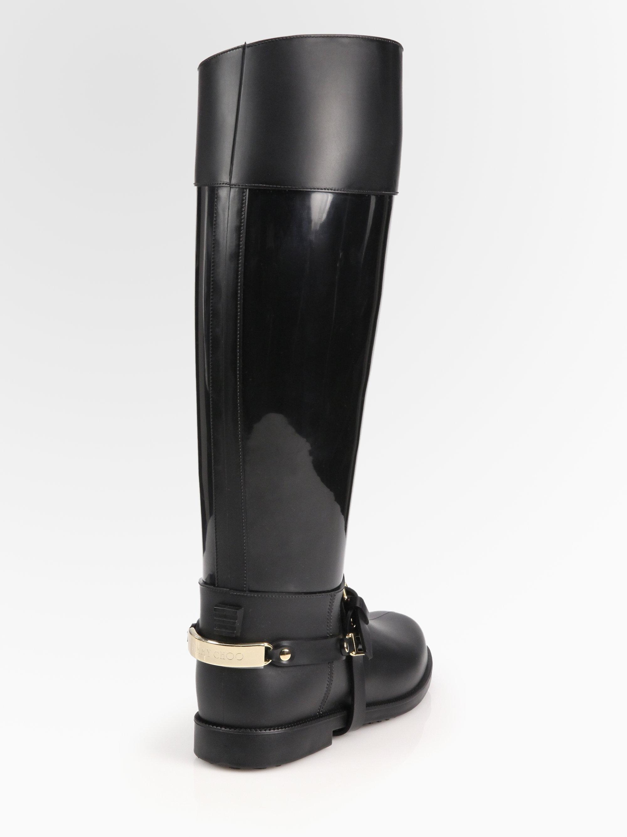 f5d287a425b Jimmy Choo Cheshire Flat Rain Boots in Black - Lyst