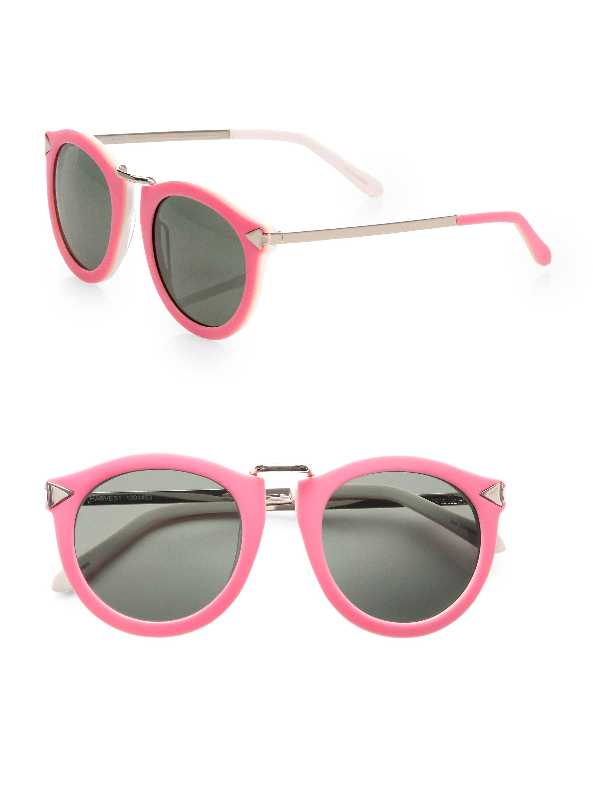 241c059717fe Lyst - Karen Walker Harvest Round Acetate Sunglasses in Pink