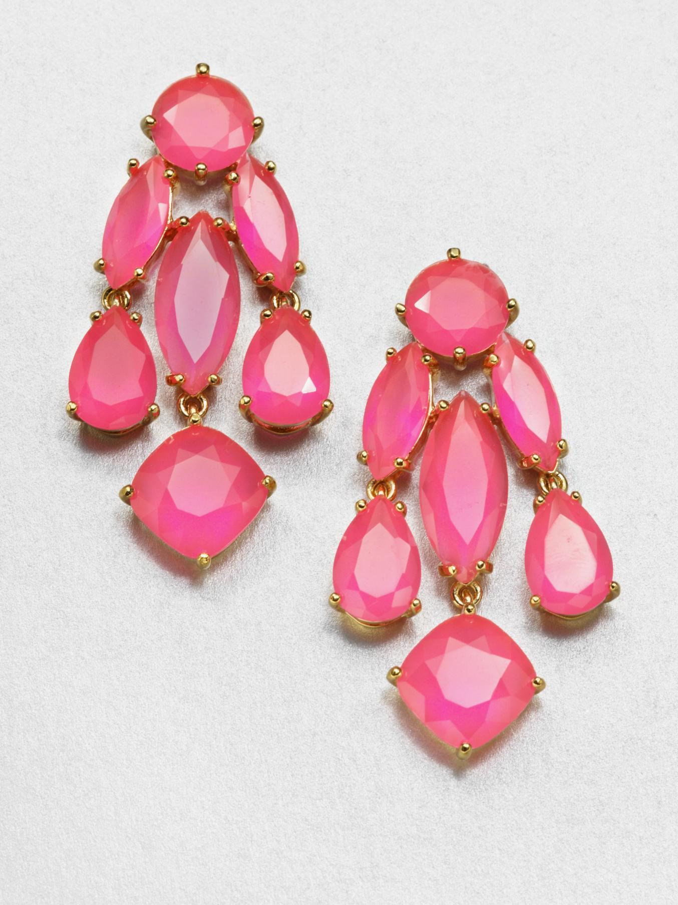 Kate spade new york Faceted Statement Chandelier Earrings in Pink ...