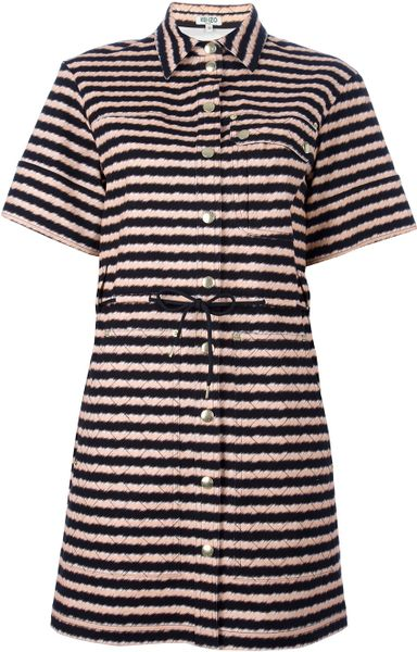 Kenzo Striped Shirt Dress in Black