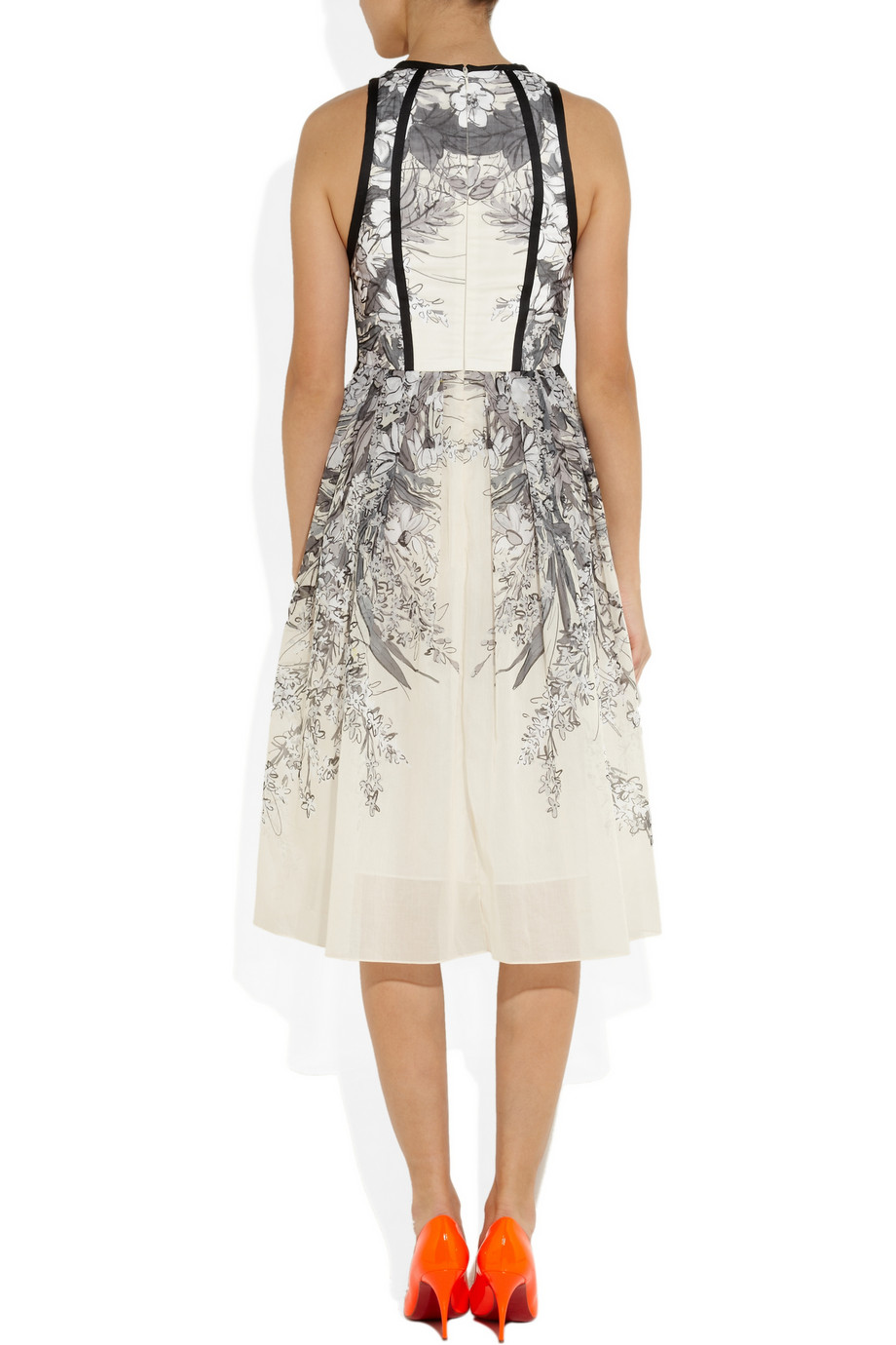 Lela Rose Printed Cotton Voile Dress In Gray Lyst