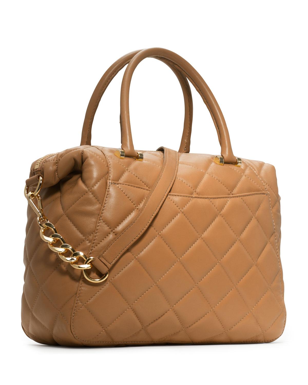 michael michael kors large fulton quilted satchel in brown lyst. Black Bedroom Furniture Sets. Home Design Ideas