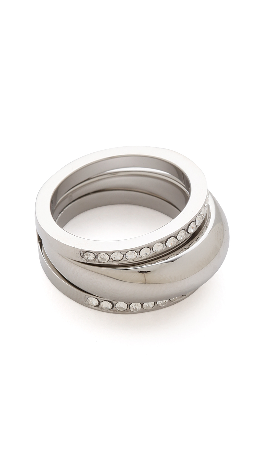 michael kors grayson pave ring set in silver lyst