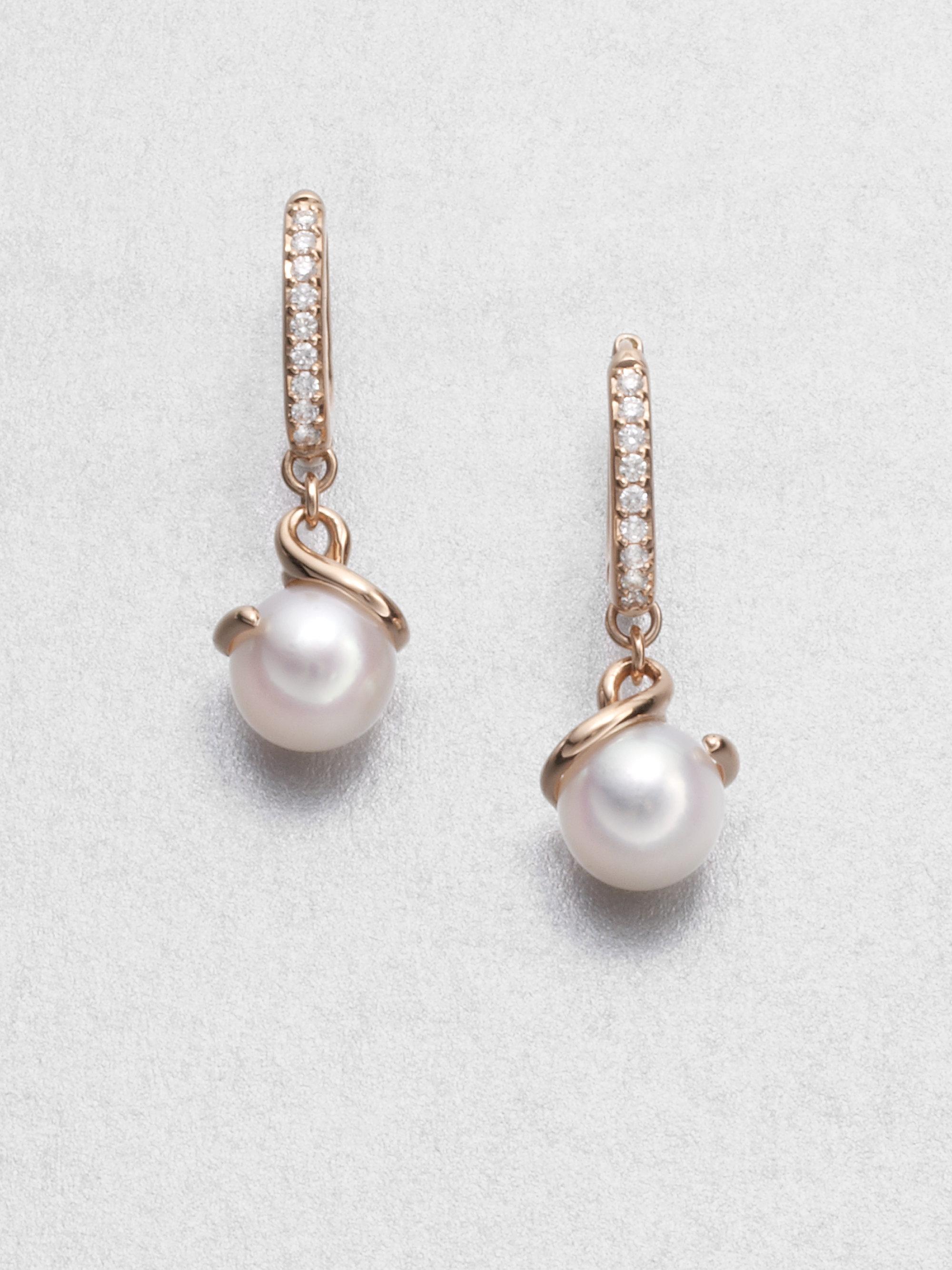 9b6cfdcf1 Mikimoto Twist 7Mm White Cultured Akoya Pearl, Diamond & 18K Rose ...