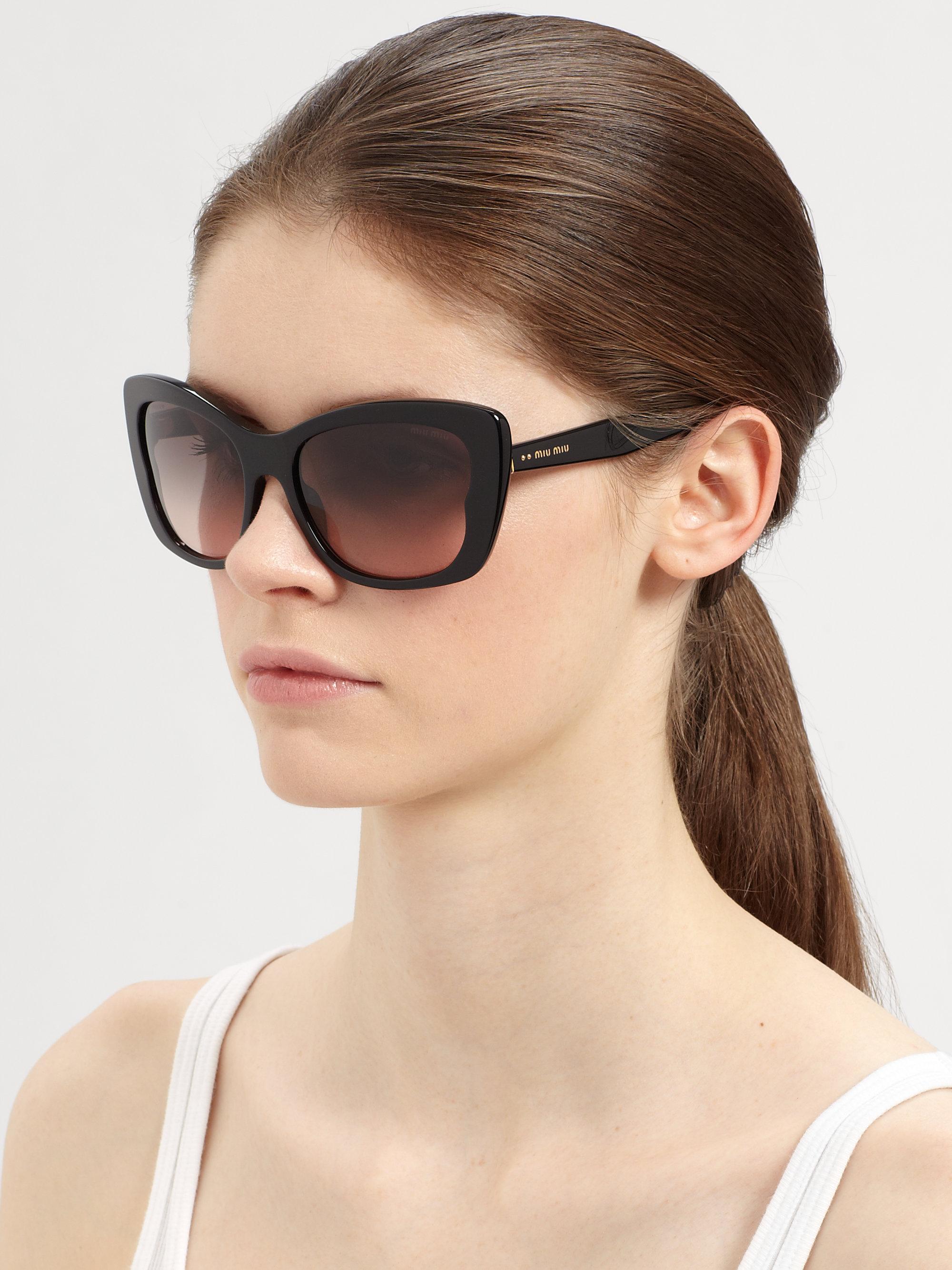 fd4a6748a5e9 Miu Miu Oversized Acetate Butterfly Sunglasses in Black - Lyst