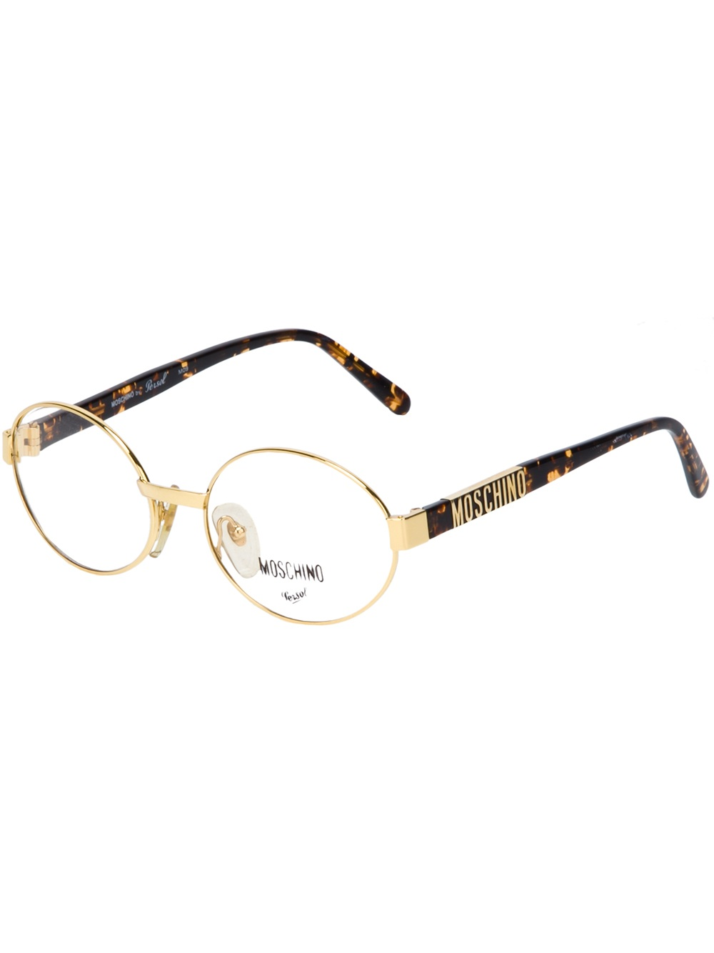 Gold Frame Glasses Nas : Moschino Round Frame Glasses in Metallic Lyst