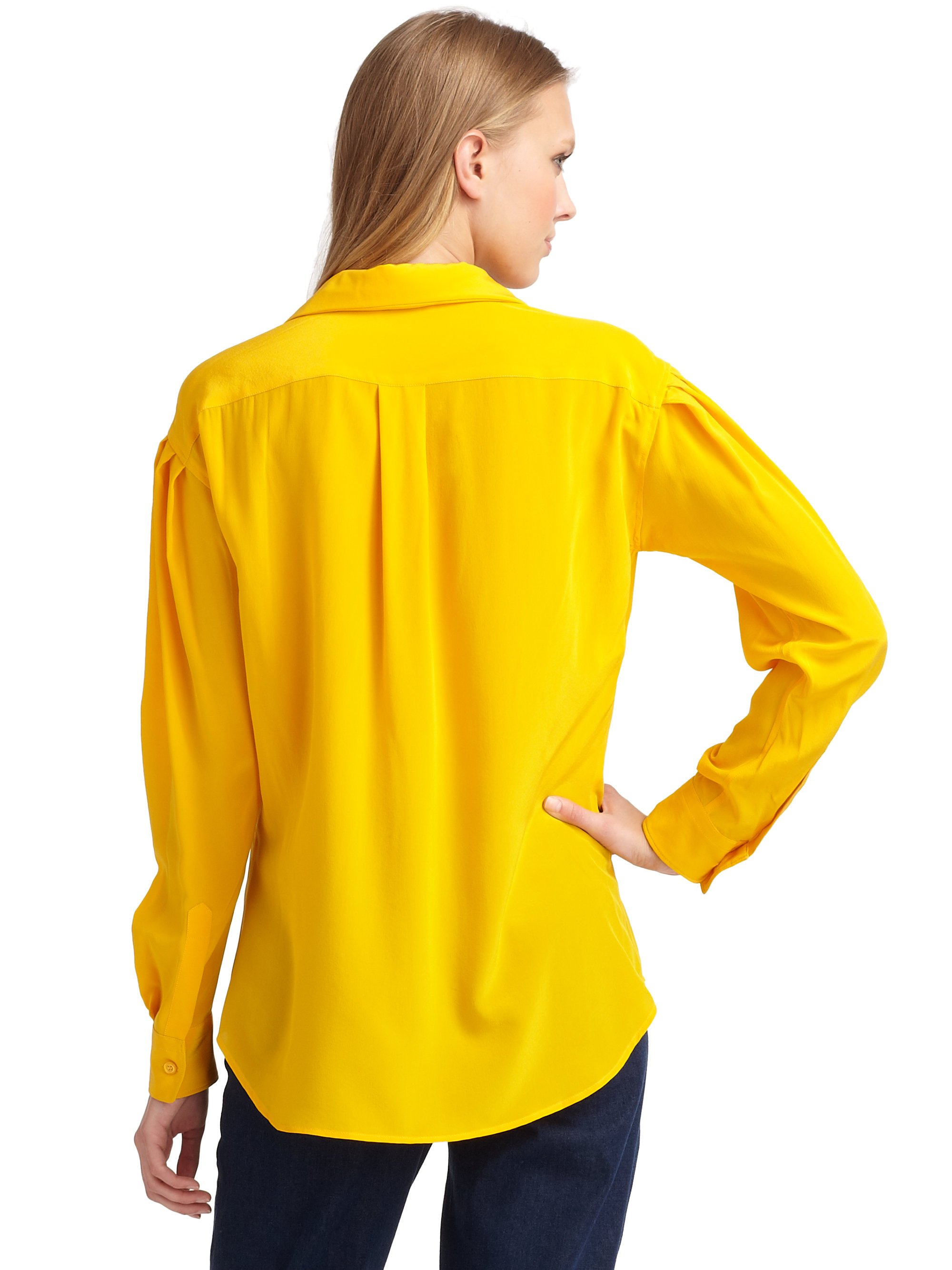 Lyst moschino silk button down blouse in yellow for Silk button down shirt