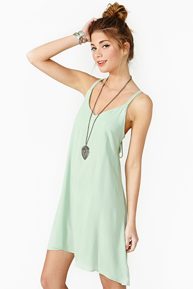 Nasty Gal Lace Up Dress Mint In Green Lyst