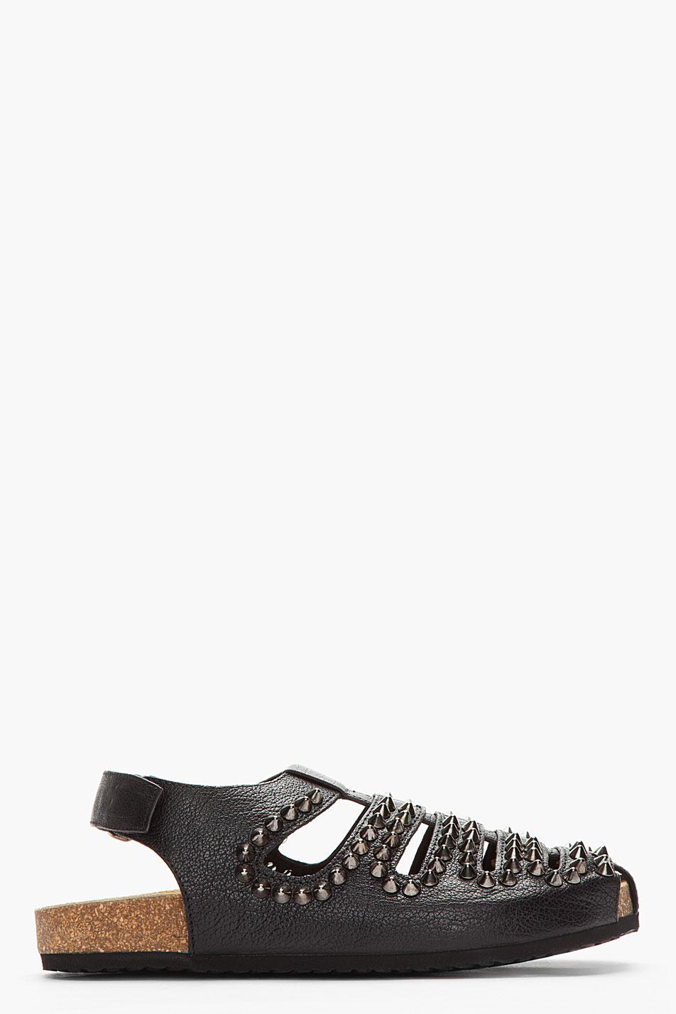 Neil Barrett Black Bufflo Leather Studded Norwich Sandals