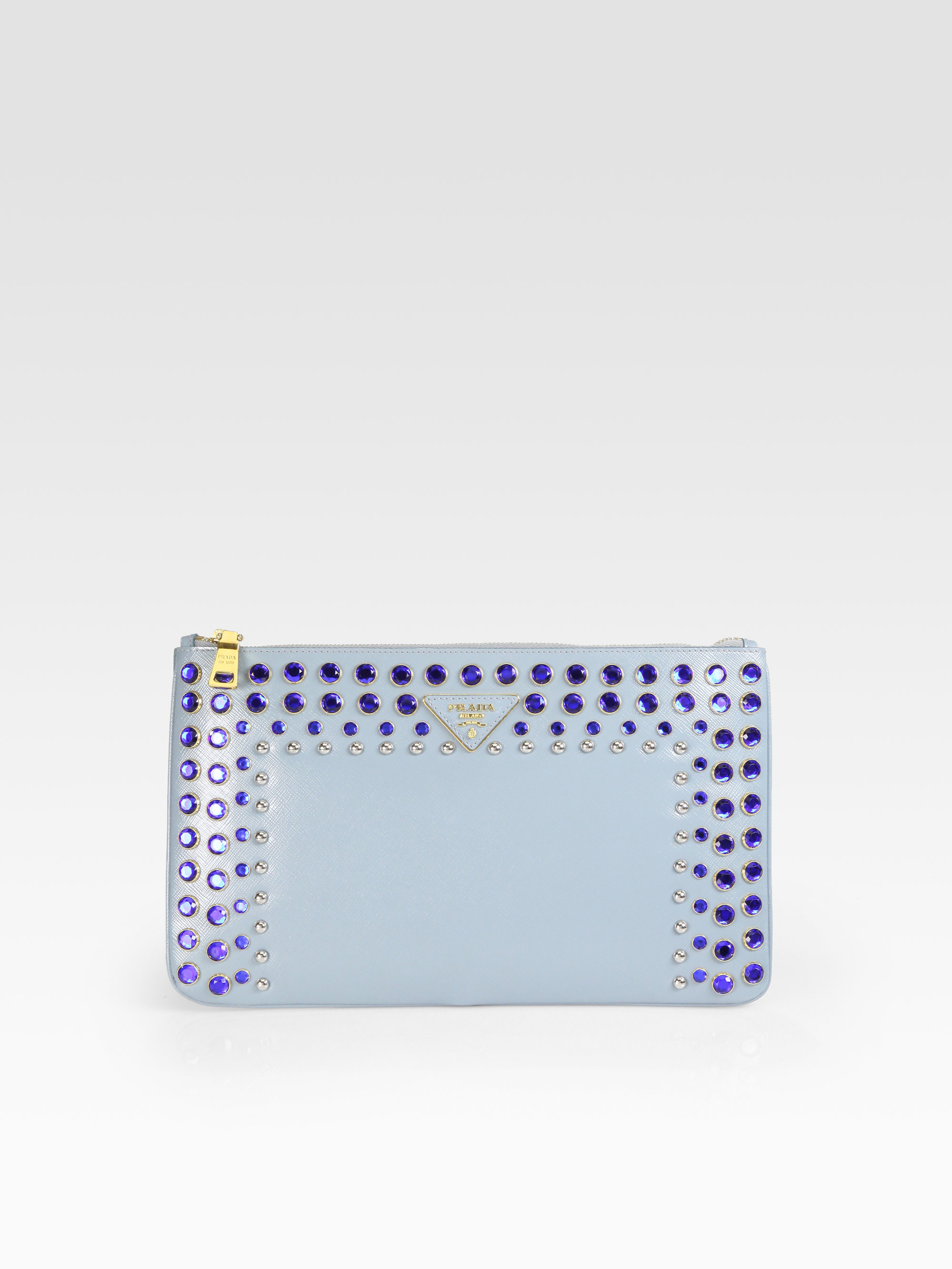 Prada Vern Jeweled and Studded Clutch in Blue (lago-blue) | Lyst