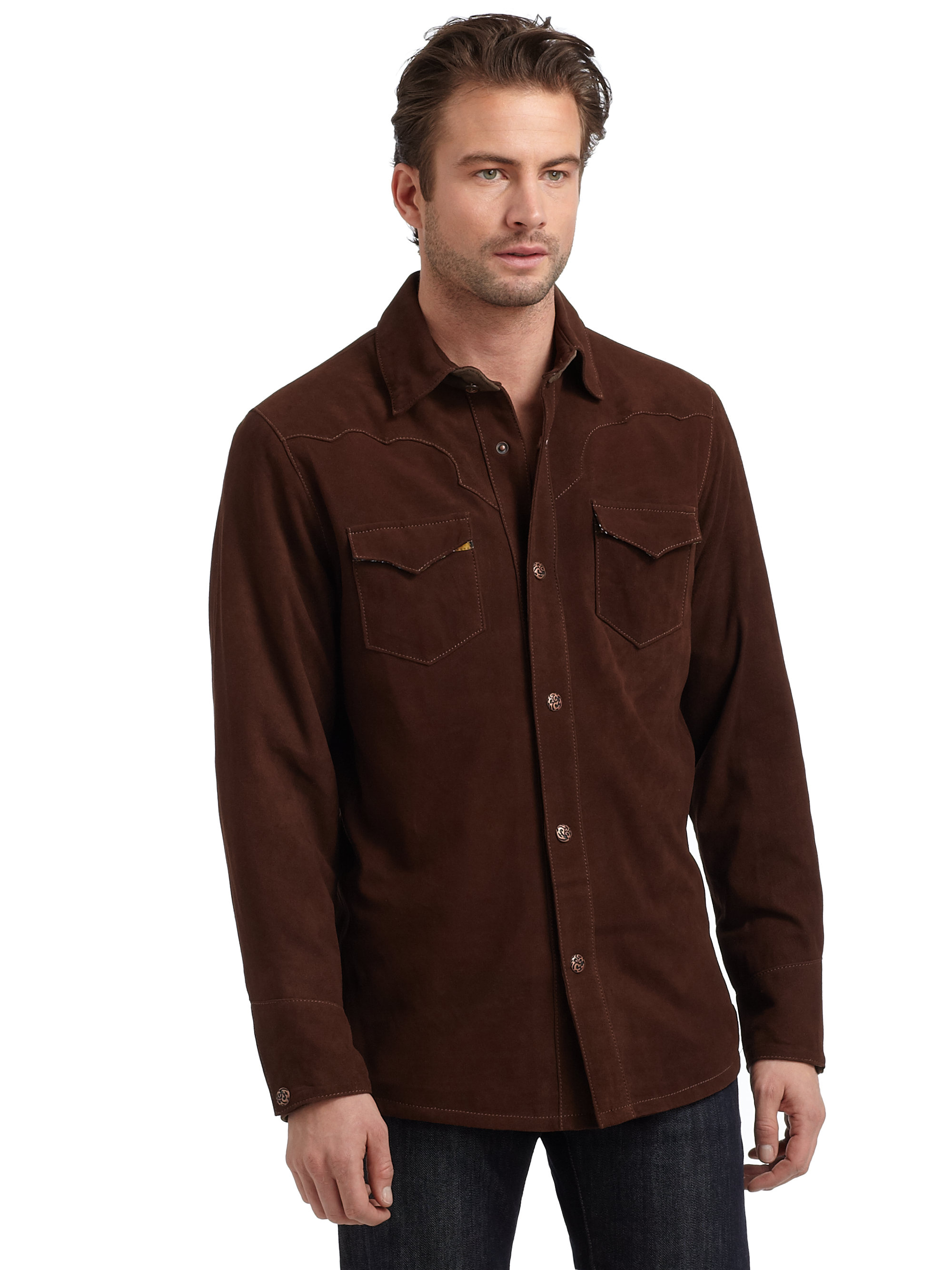 Robert graham Suede Button Down Shirt in Brown for Men | Lyst
