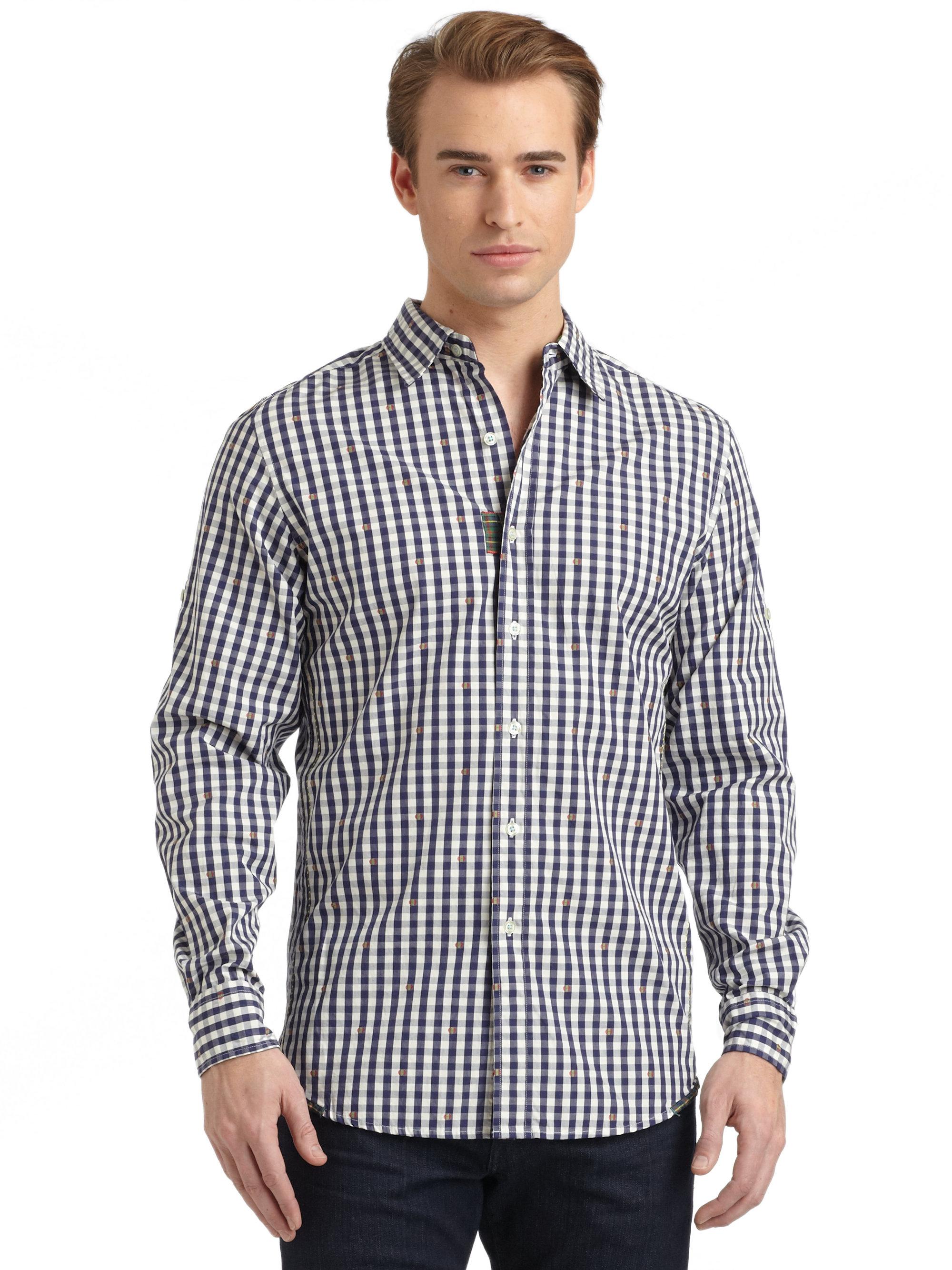 Robert graham woven cotton gingham button down shirt in for Blue gingham button down shirt