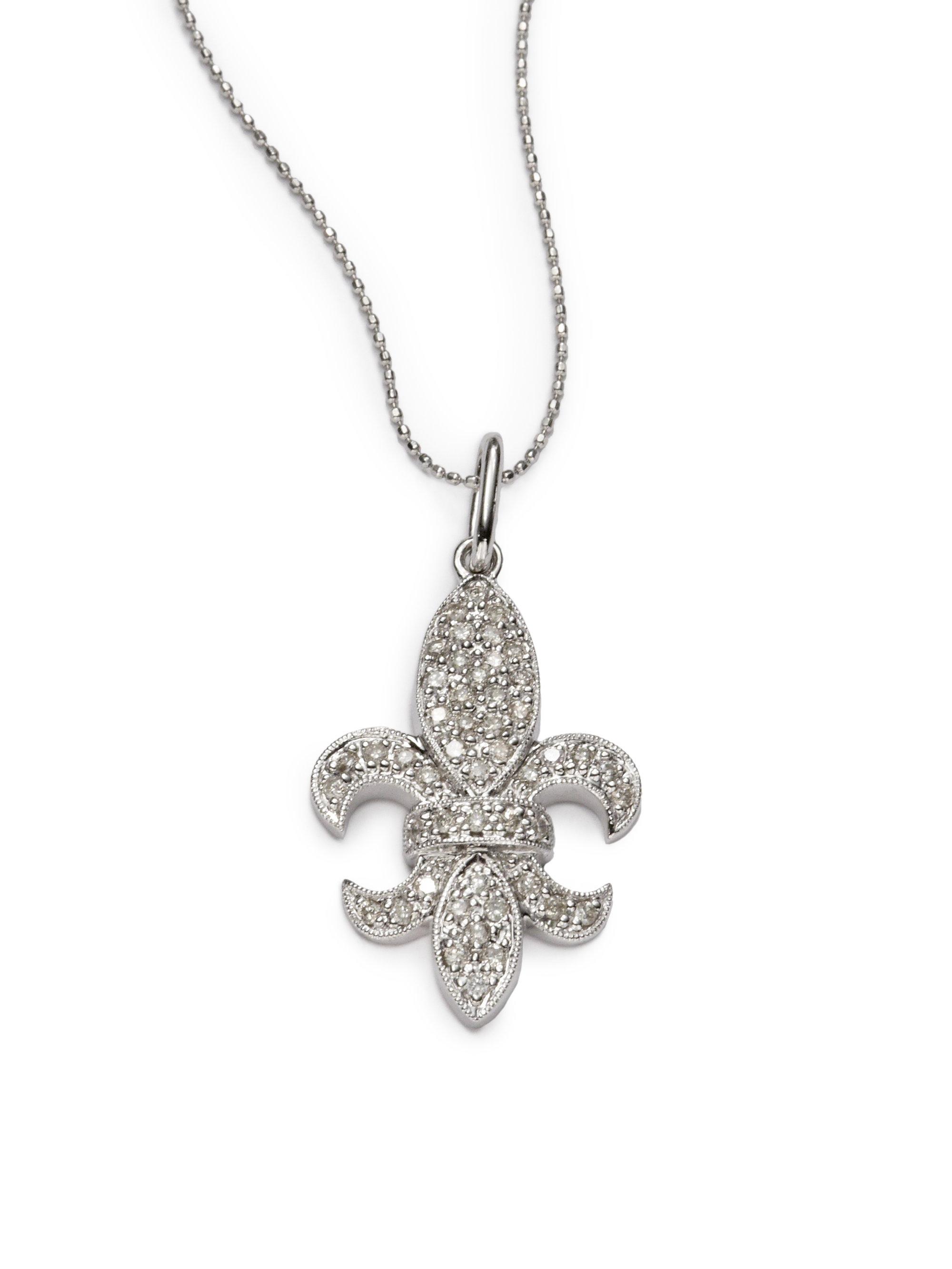 0aaa6efd9d3ac Sydney Evan Metallic Diamond Large Fleur De Lis Pendant Necklacewhite Gold