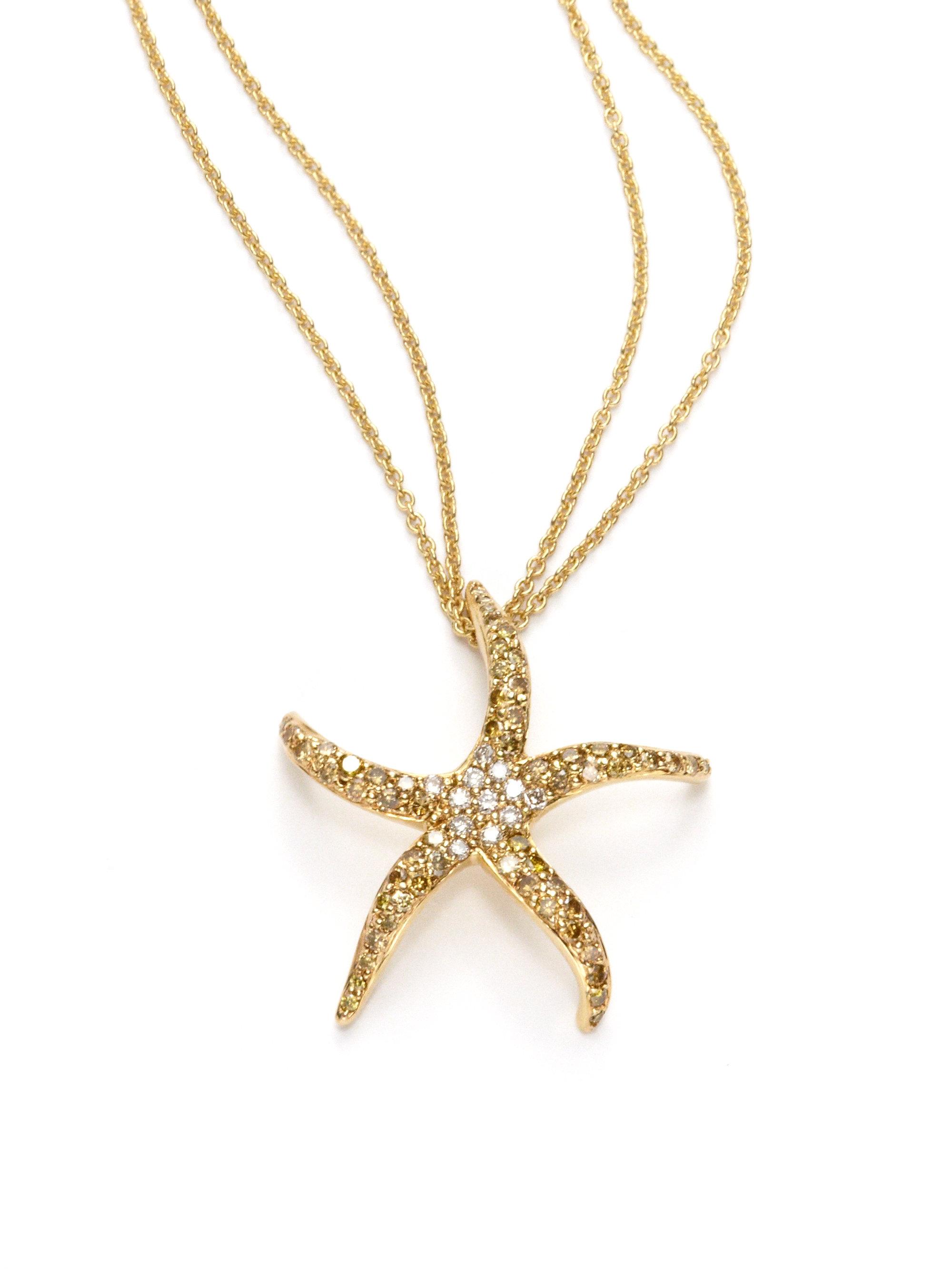 Lyst sydney evan diamond starfish pendant necklace in yellow gallery aloadofball Choice Image