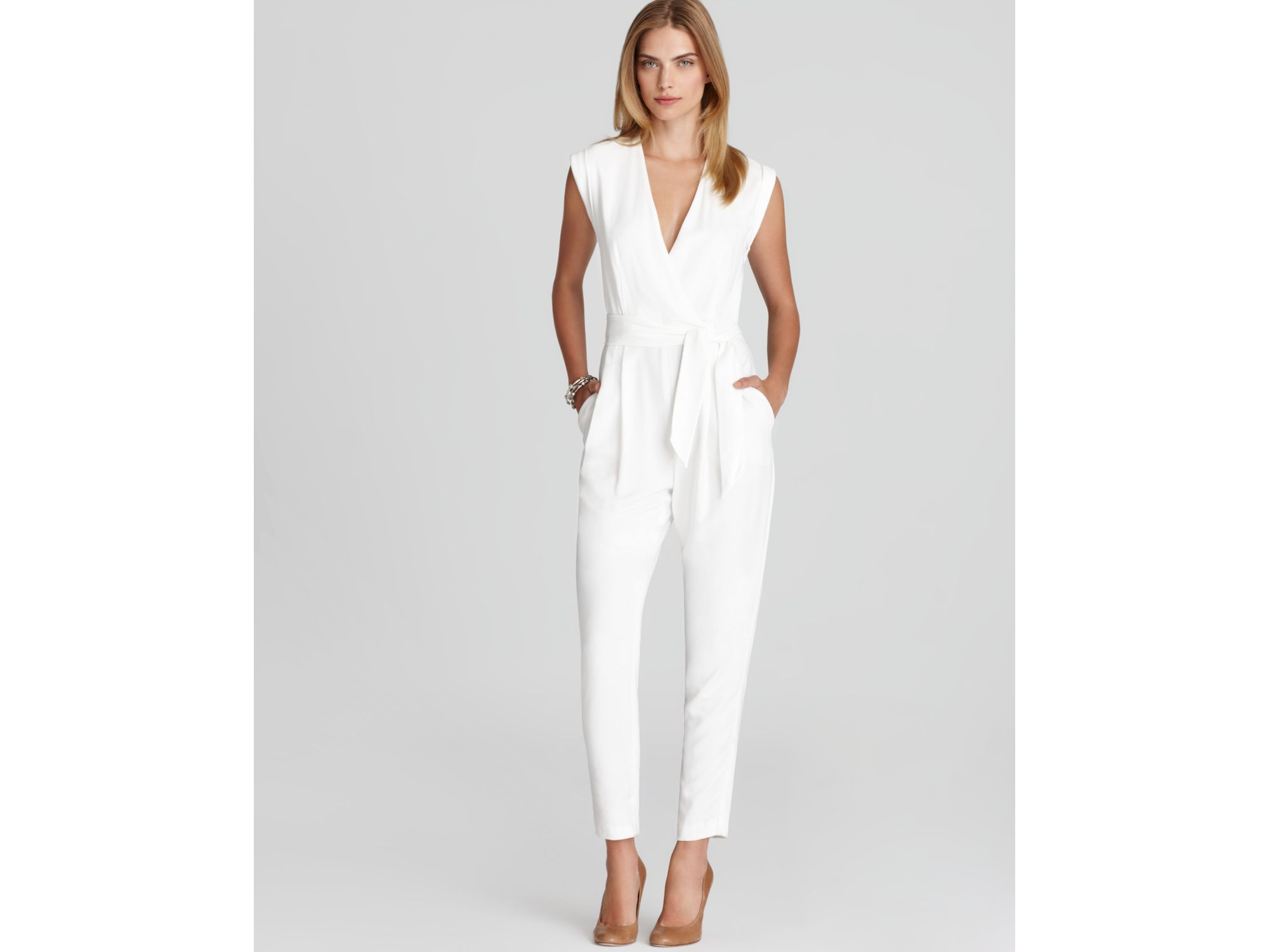 fe37d6b7b42e Lyst - Theory Provence Crepe Jumpsuit in White