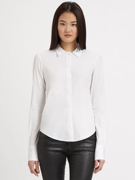 Theory stretch cotton button down shirt in white lyst for Womens stretch button down shirt