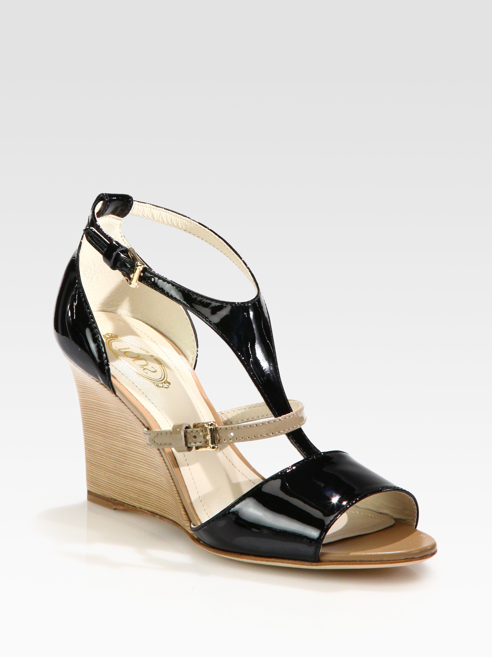 Lyst Tod S Bicolor Patent Leather Wedge Sandals