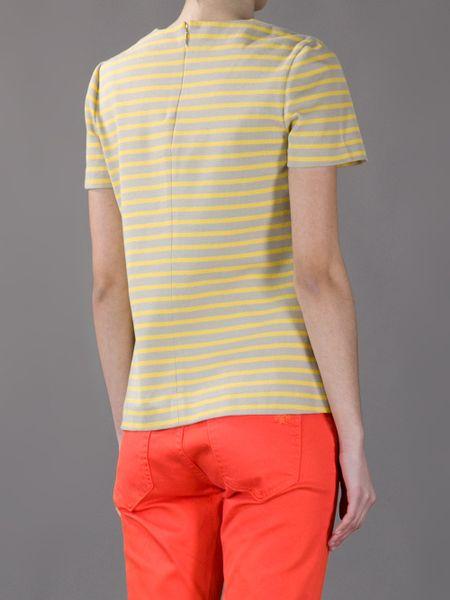 Tory burch striped t shirt in yellow beige lyst for Tory burch t shirt