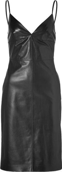 Valentino Black Lambskin Leather Dress in Black