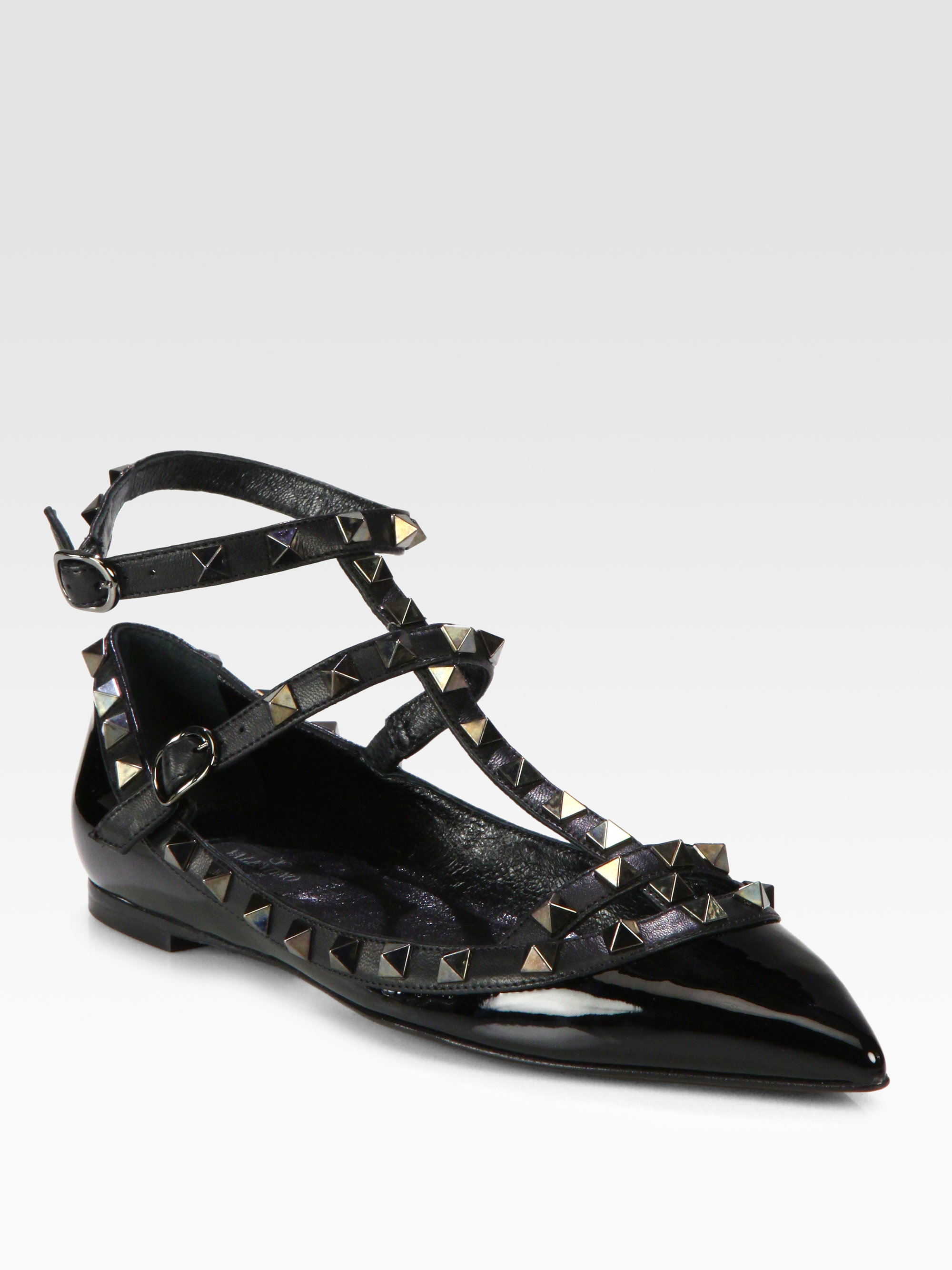 Valentino Rockstud Patent Leather Tstrap Flats In Black Lyst