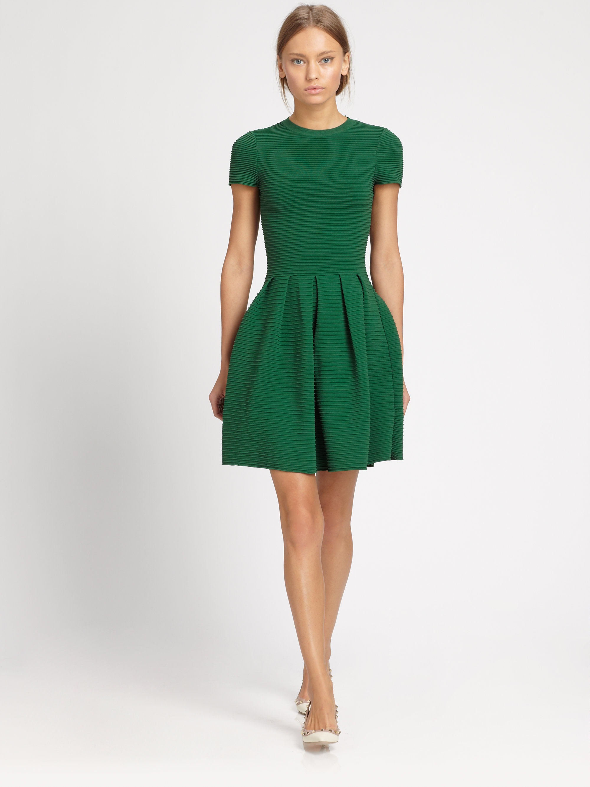 lyst valentino ribbed openback dress in green