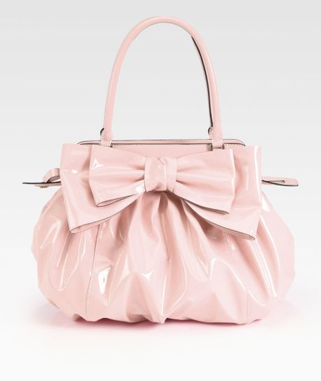 Valentino Lacca Patent Leather Top Handle Bag in Pink (light pink) - Lyst