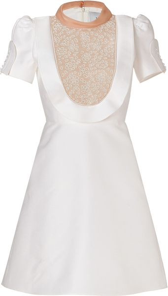 Valentino  Embroidered Cotton Silk Dress in White