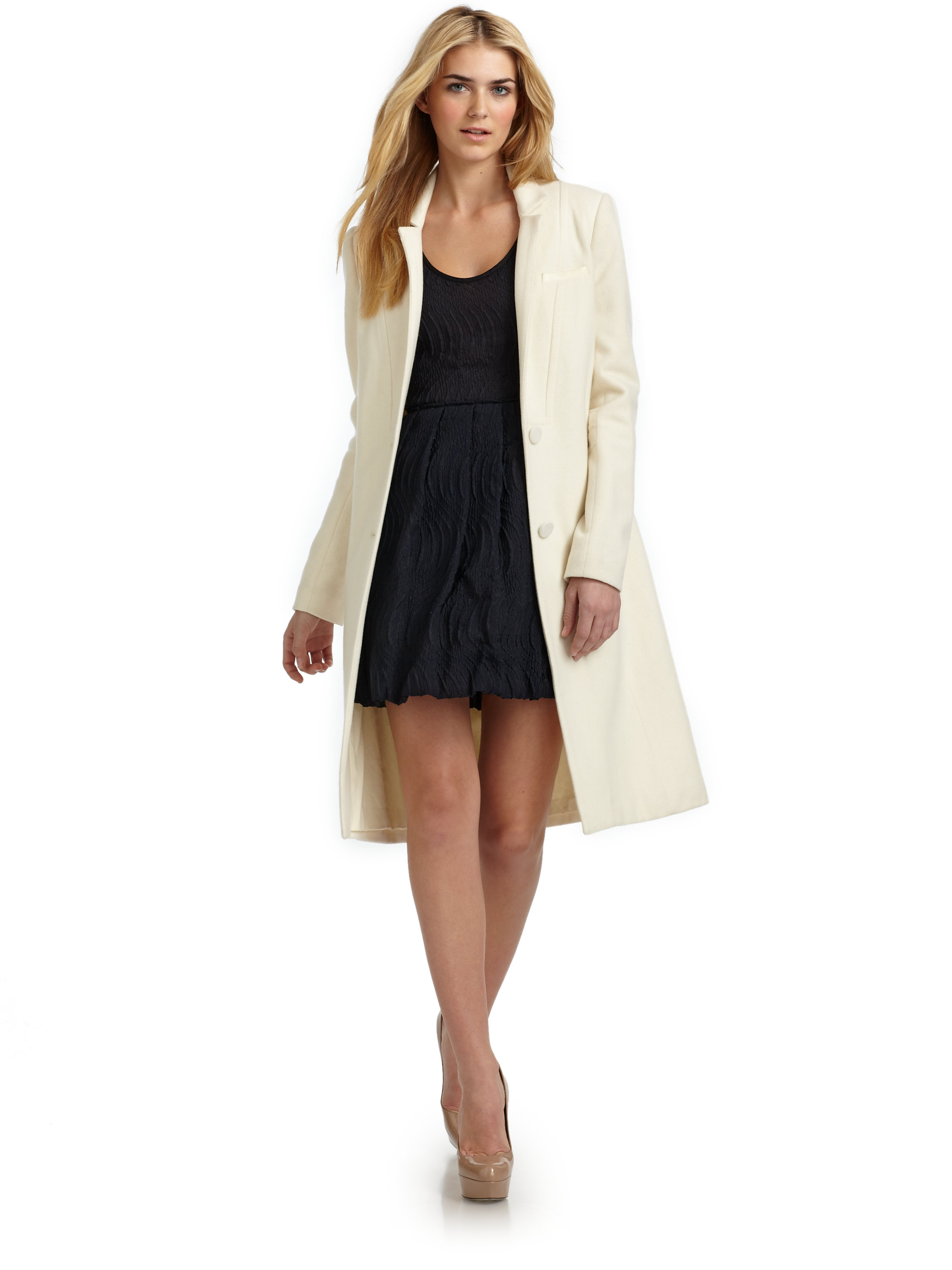 Yigal Azrou 235 L Double Face Wool Coat In Ivory White Lyst