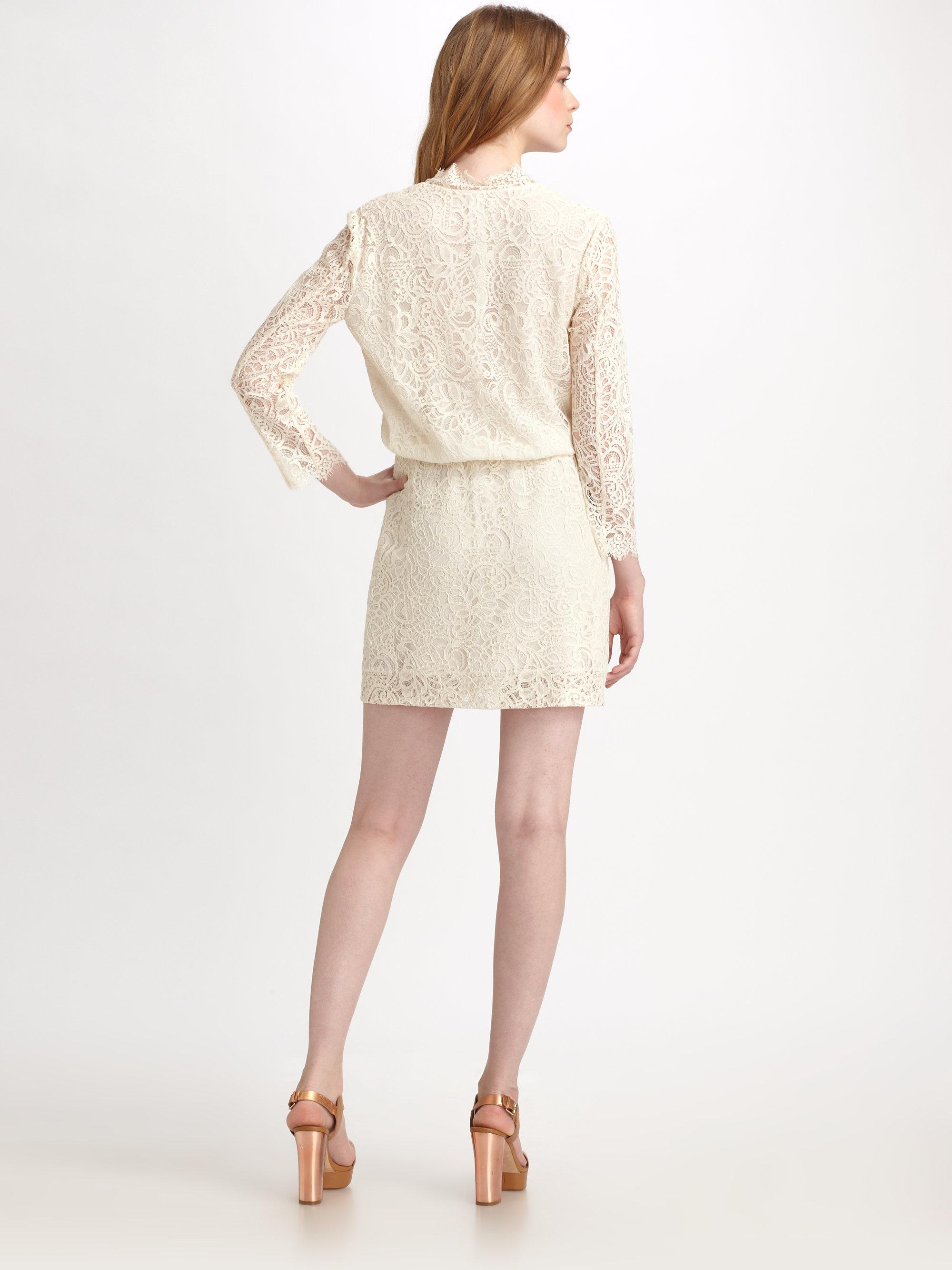 Zimmermann Lace V Neck Dress In White Lyst