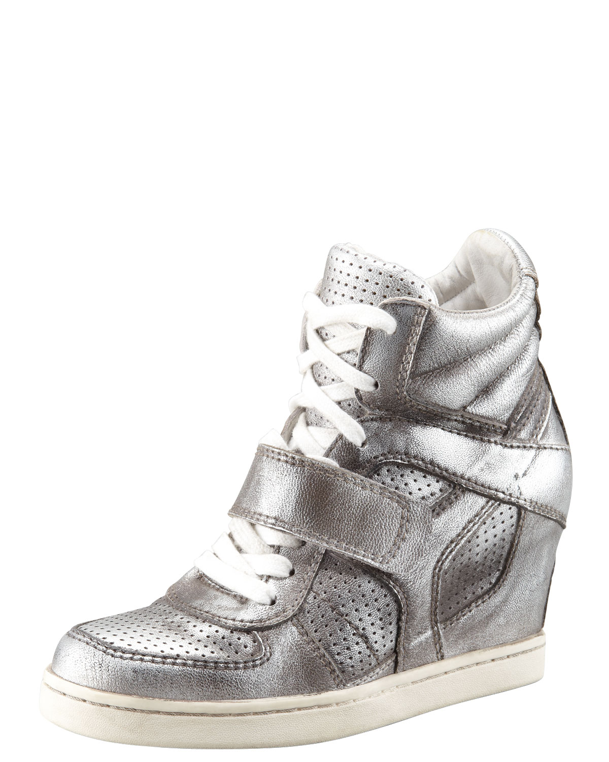 ash metallic leather high top wedge sneaker in silver lyst. Black Bedroom Furniture Sets. Home Design Ideas