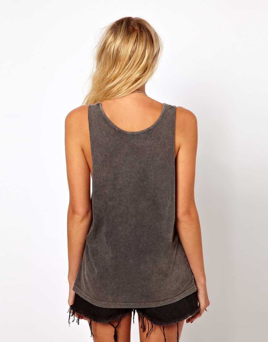 Asos Collection Asos Tank With Love Spell In Gray Lyst