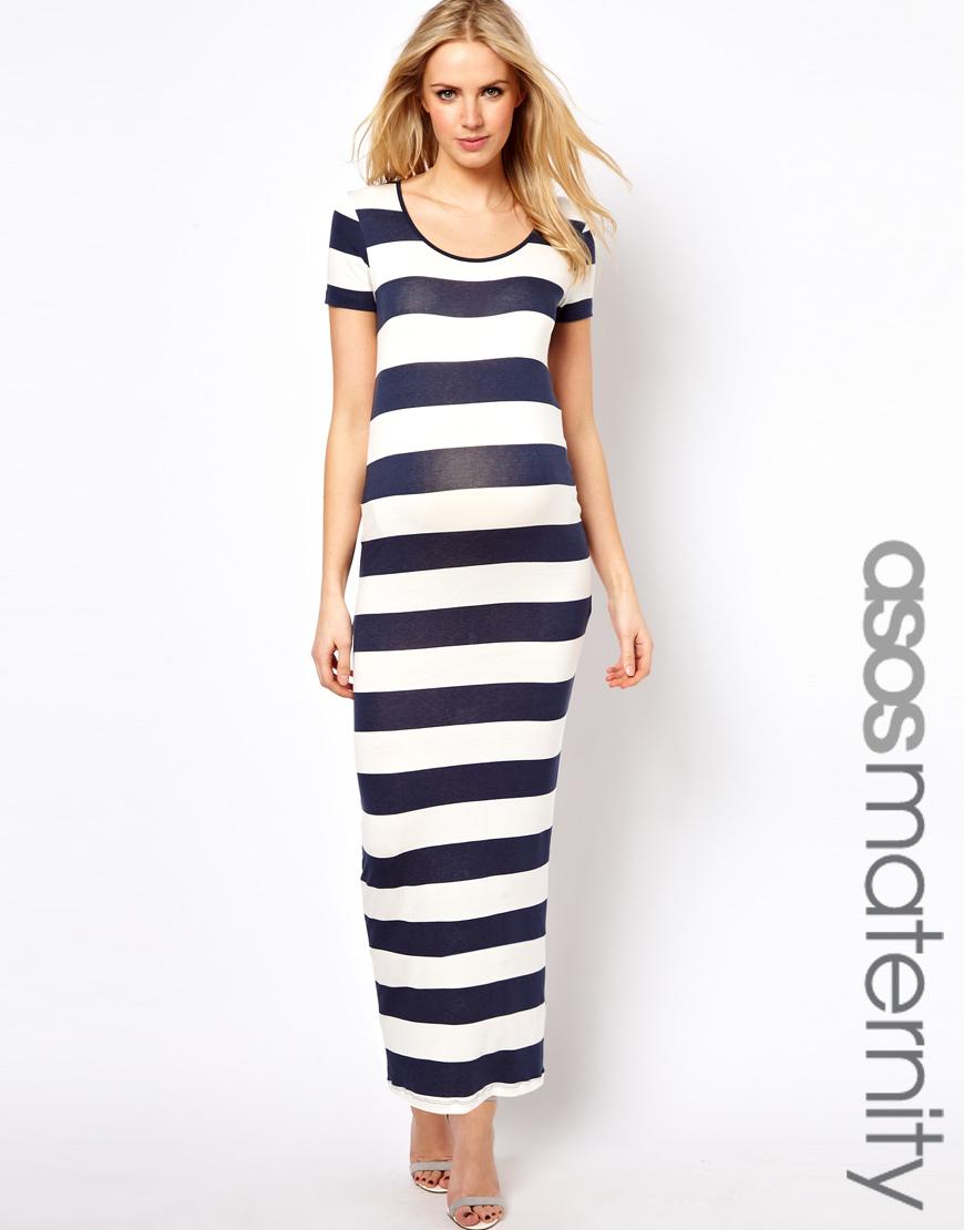 8b00a480841 TFNC London Maternity Maxi Dress in Stripe in Blue - Lyst