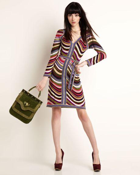Bcbgmaxazria Mayla Combo Knit Dress in Multicolor (ltmagentac)