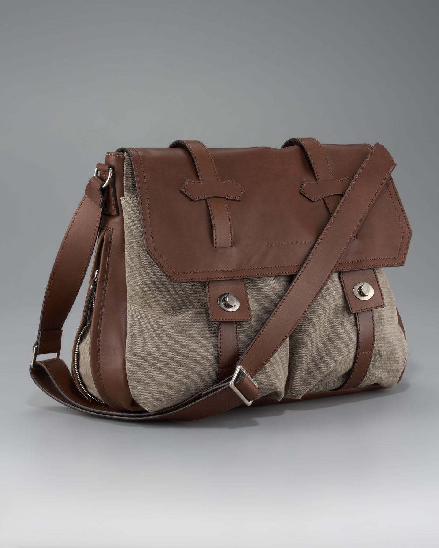 Brunello cucinelli Leather-canvas Messenger Bag in Natural for Men ...