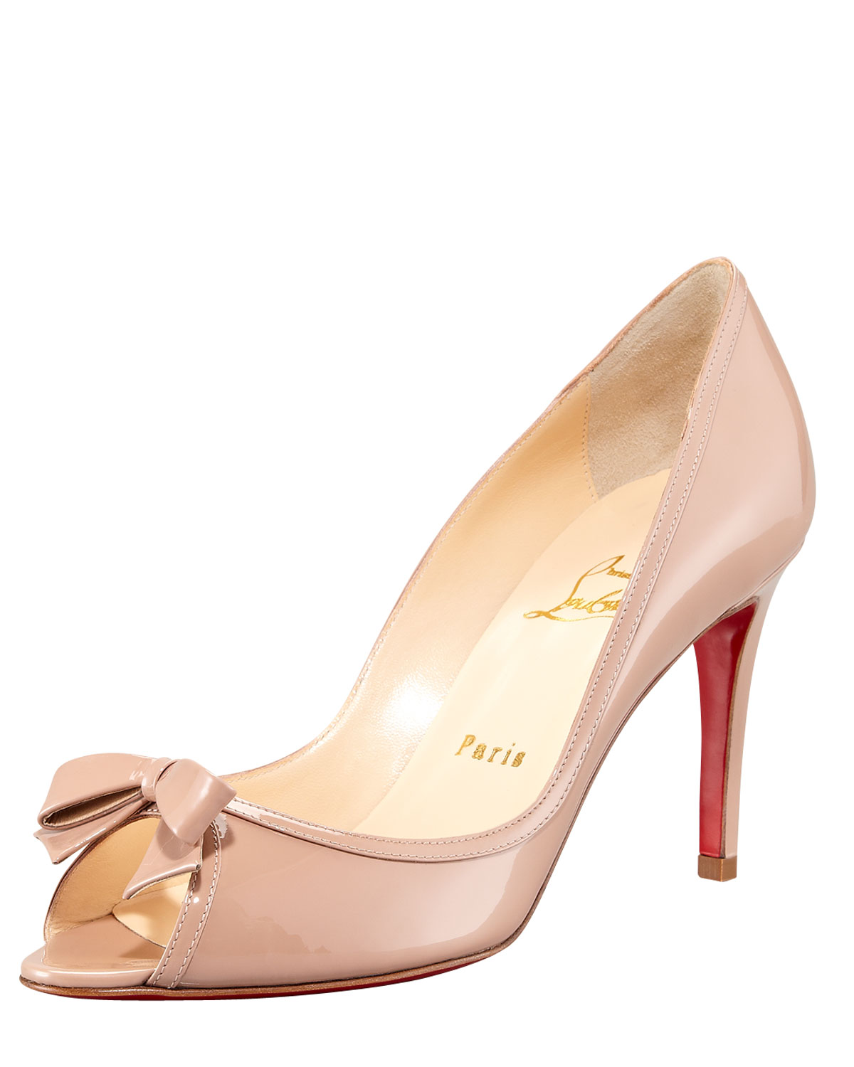 8544905e640 Christian Louboutin Black Milady Patent Leather Bow Peeptoe Red Sole Pump