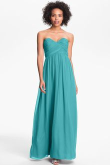 Donna Morgan Ruched Silk Chiffon Gown - Lyst