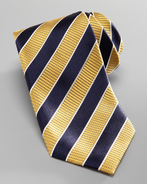 307a212a Ermenegildo Zegna Yellow Striped Silk Tie for men