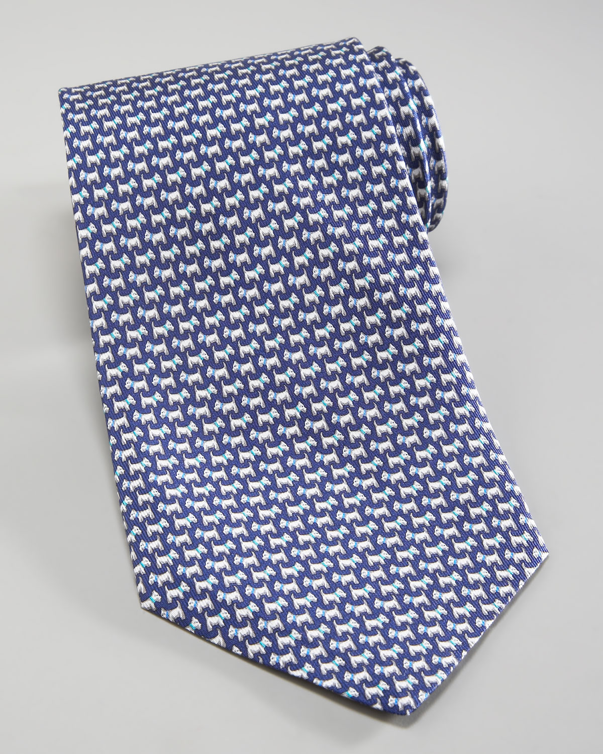 Ferragamo Scottie Dog Tie Navyaqua Blue in Blue for Men - Lyst